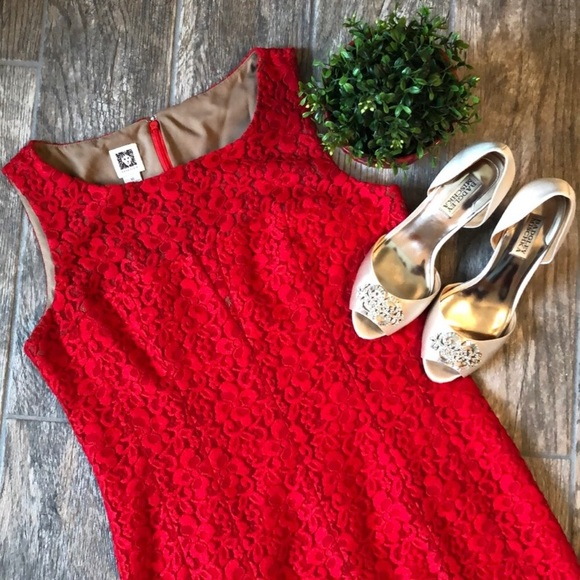 Anne Klein Dresses & Skirts - Anne Klein Red Floral Lace Sheath Dress